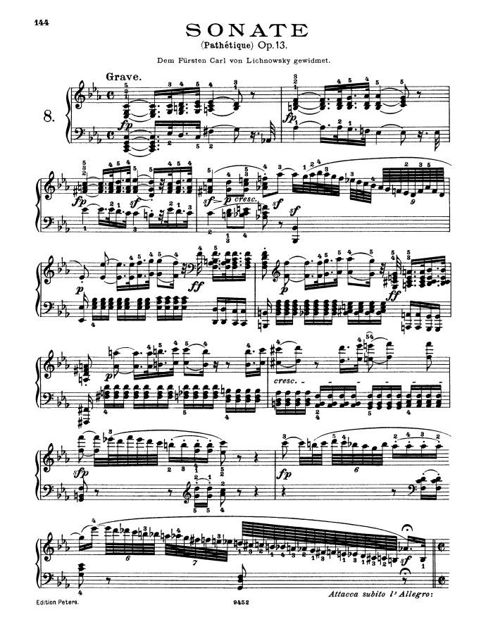 All Music Chords beethoven sheet music : Piano Sonata No. 8, op.13 no.8 Pathetique sheet music pdf download ...